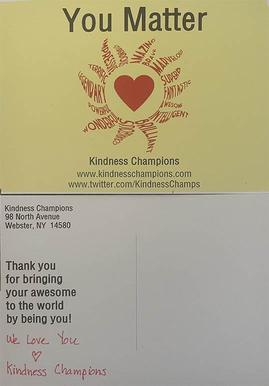kindness champions postcard